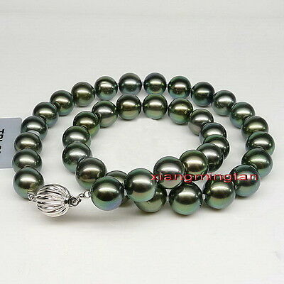 "Top Quality 18""9-10mm round REAL TAHITIAN black GREEN pearl necklace 14K*TAHITI"