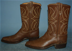 3410b3d2064 Details about MENS VINTAGE BROWN LEATHER ROCKABILLY/FLAT TOP WESTERN/COWBOY  BOOTS sz 8 D