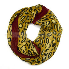 Cheetah Leopard Animal Print Maroon Circle Loop Infinity Scarf Spring Summer