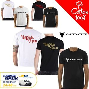 T-Shirt-Yamaha-MT-07-uomo-Maglia-moto-nera-cotone-100-maglietta