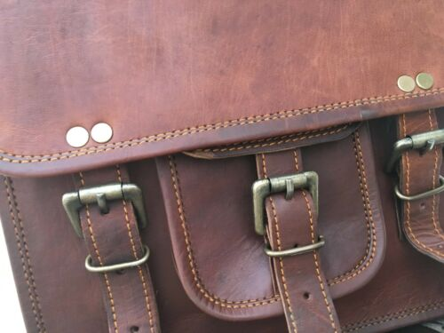 New Vintage Leather Messenger Shoulder Crossbody Satchel Brown Sling School Bag