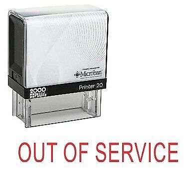 E-5330 OUT OF SERVICE Office Self Inking Rubber Stamp Red Ink