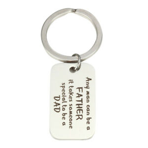Father-039-s-Day-Gift-Letter-any-Man-Can-Be-A-Father-Dad-Silver-Key-ring-Keychain-SG