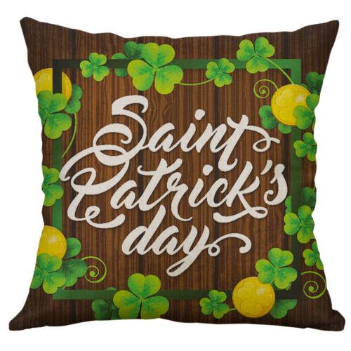 St Patrick/'s Shamrocks Cotton Linen Cushion Cover Throw Pillow Case Home Decor