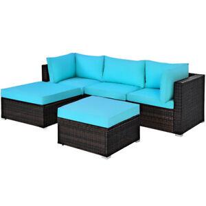 5PCS Patio Rattan Furniture Set Sectional Conversation Set Ottoman Turquoise