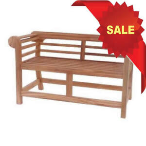Kyoto Marlborough Lutyens Chunky Teak Wood Low Back 2 Seat
