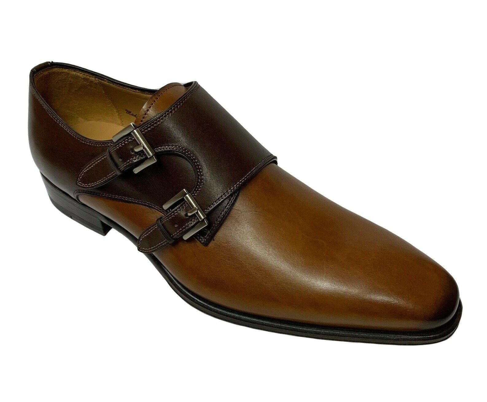 Mezlan Men's Double Monk Strap Tan Marronee Leather Dress scarpe 9159