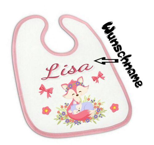 Baby Lätzchen mit Wunsch-Name süßer Fuchs für Mädchen in rosa