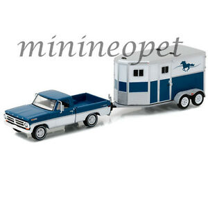GREENLIGHT-32090-B-HITCH-amp-TOW-1972-FORD-F-100-amp-HORSE-TRAILER-1-64-BLUE-WHITE