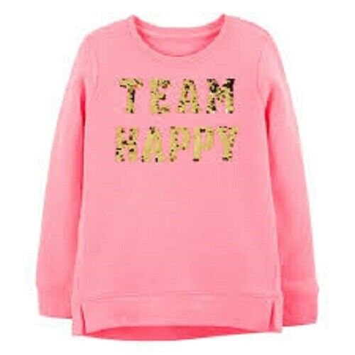 "Girls OshKosh B/'gosh /""Team Happy/"" Flip-Sequin Sweatshirt Pink NWT"