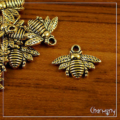 Bumble Bee charms PACK of 10 SILVER, GOLD, BRONZE honey bumblebee Tibetan bead
