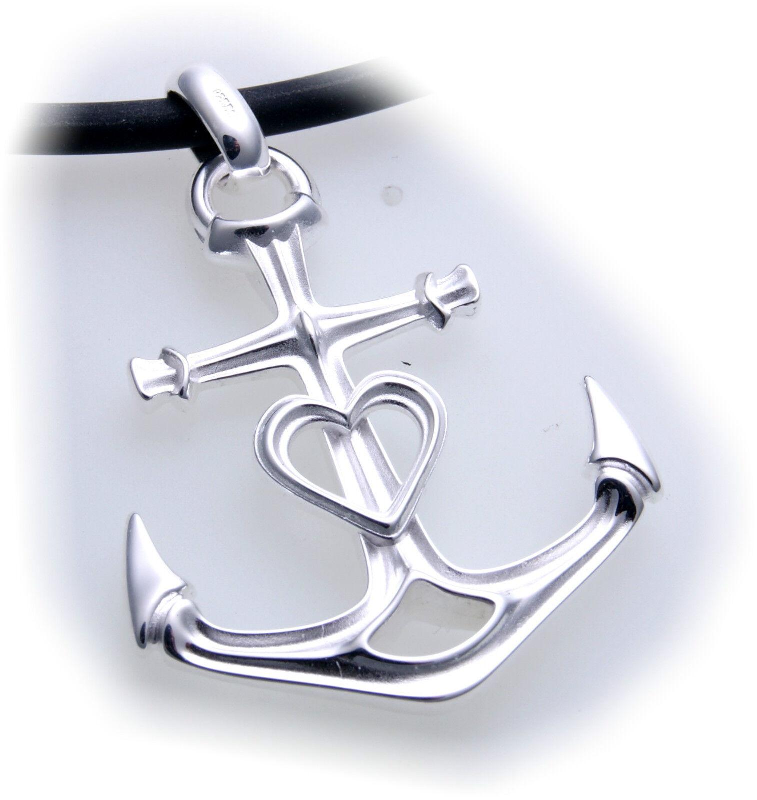 Anhänger Glaube Liebe Hoffnung groß Anker echt silver 925 Sterlingsilver Unisex
