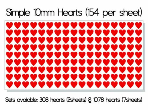 Simple Heart 10mm Vinyl Stickers Hearts Decals Self Adhesive Peel and Stick