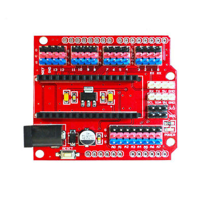 Red And Black PCB NANO UNO Breakout Shield Expansion Adapter For Arduino