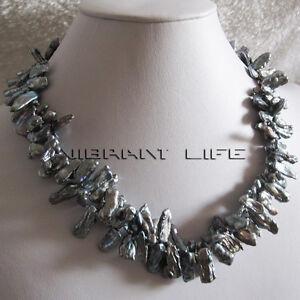 """18"""" 6-15mm Dark Gray 2Row Biwa Freshwater Pearl Necklace Jewelry U"""