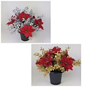 xmas grave artificial silk flower arrangement in grave memorial pot rh ebay co uk christmas fake flower arrangements christmas artificial flower arrangements uk