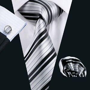 SN-670 men's Grays black Stripes Silk Tie classic formal Neckties free postage