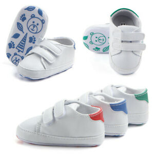 Toddler Baby Boys Girls Anti-Slip PU Soft Sole Shoe Crib Pram Sneaker Sandal UK