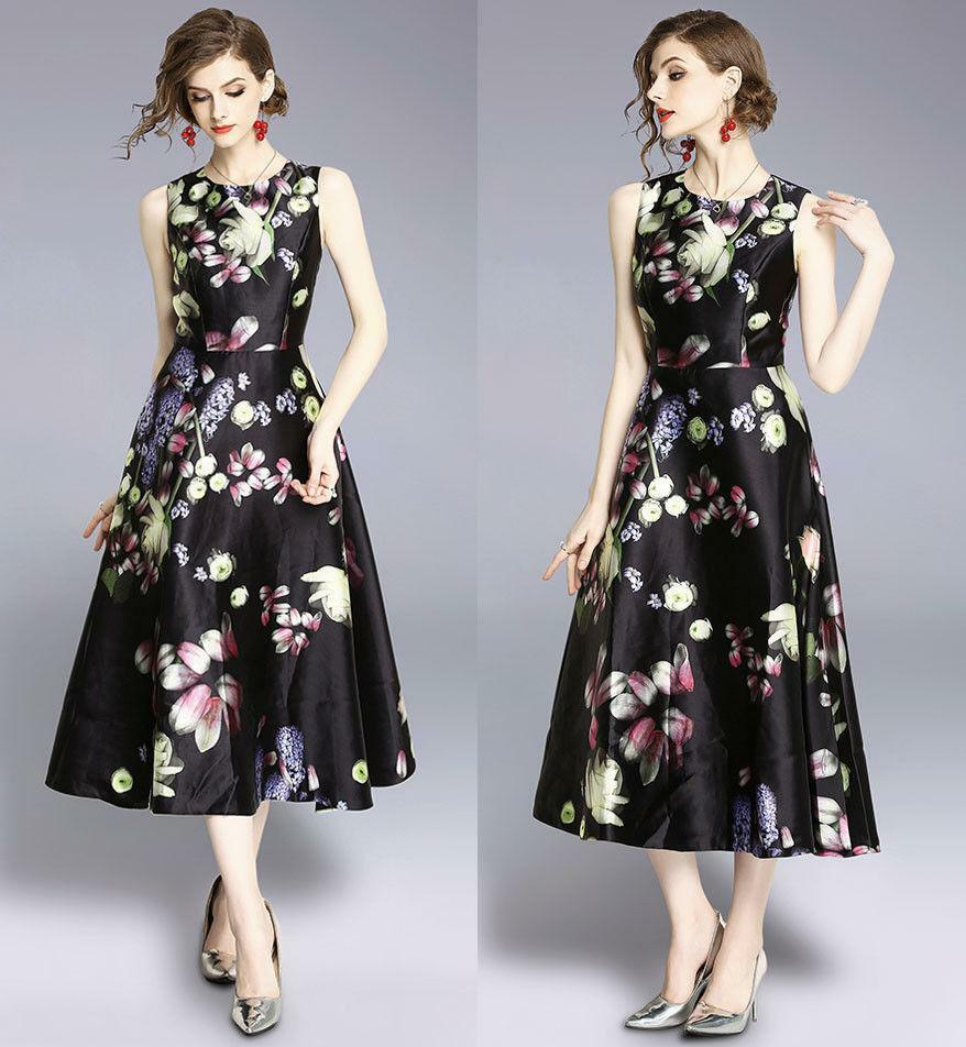 New spring women's fashion temperament sleeveless printing High Waist Dress size