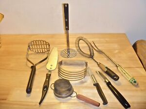 Lot Of 9 Vintage Kitchen Utensils A J Ekco Forge Stanley Thomas