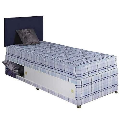 75x150cm 2FT6 x 5FT CUSTOM SIZE PLAIN DIVAN SINGLE BED w MATTRESS HEADBOARD
