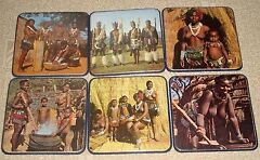 Rare vintage 1960s set of 6 coasters with naked African tribe women