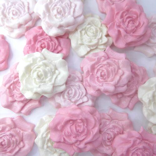 12 rose layette MIX Ivoire sucre roses fleurs comestibles Décorations de gâteau de mariage