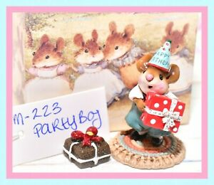 ❤️Wee Forest Folk M-223 Party Boy Happy Birthday Mouse Gift Box Retired WFF❤️
