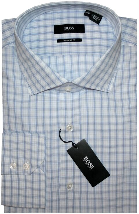 NEW HUGO BOSS Weiß & LT Blau PLAID CUTAWAY COLLAR DRESS SHIRT 17.5 32/33