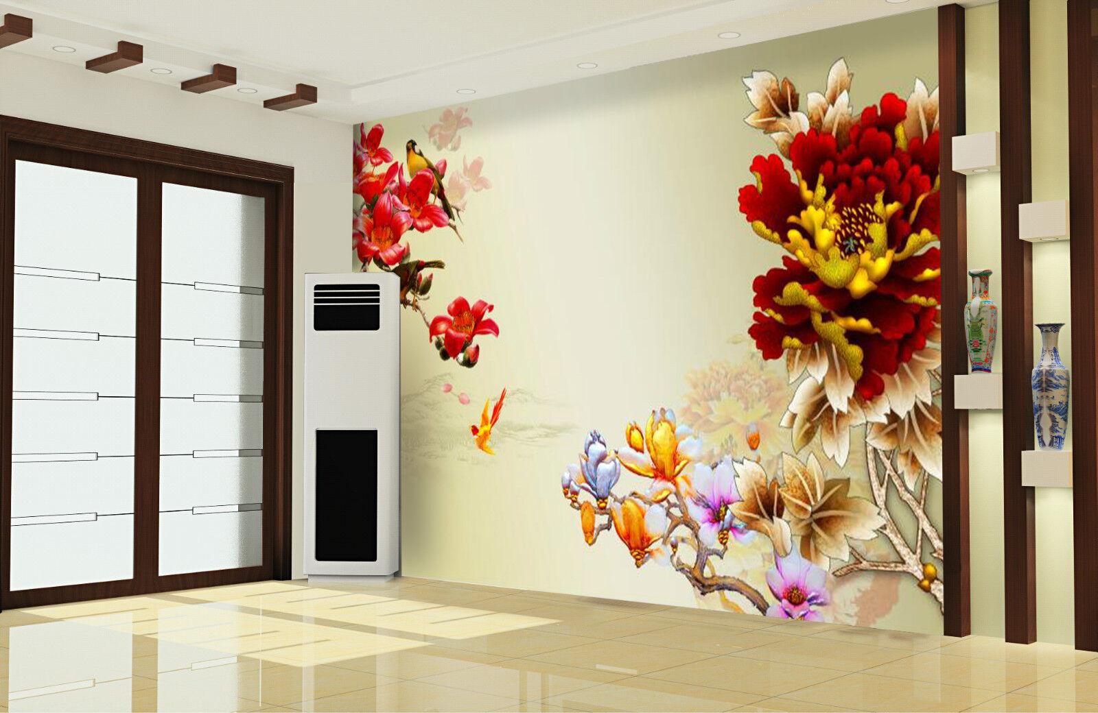 3D peonia 3166 Parete Murale Foto Carta da parati immagine sfondo muro stampa