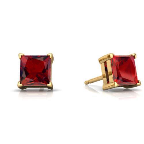 6ff4976b919de 14Kt Yellow gold Garnet Princess Cut Stud Earrings slgw9109102593 ...