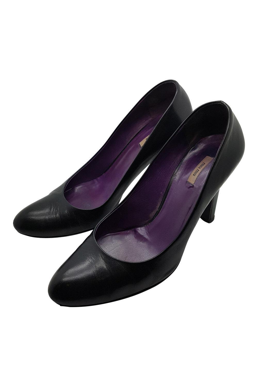 MIU MIU PLAIN BLACK COURT Schuhe (36)