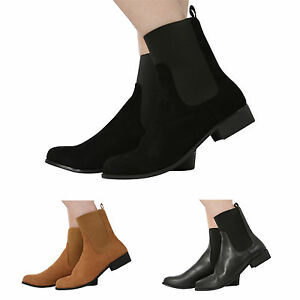 NEW-WOMENS-LADIES-PULL-ON-FLAT-LOW-HEEL-ELASTICATED-ANKLE-CHELSEA-BOOTS-SHOES