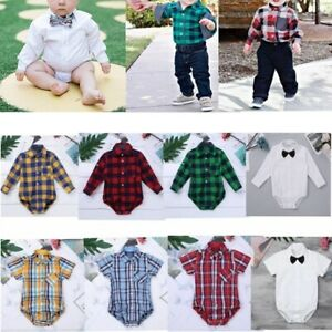 Baby-Boys-Formal-Plaid-Dress-Shirt-Gentleman-Romper-Party-Wedding-Casual-Outfits