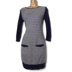 Fenn-Wright-Manson-Studio-Jumper-Dress-Size-S-10-8-Angora-Wool-Navy-White-Hygge