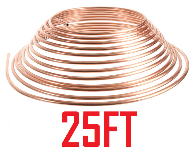 Copper Brake Pipe Tube 25ft 3/16 - Free Tracked Delivery
