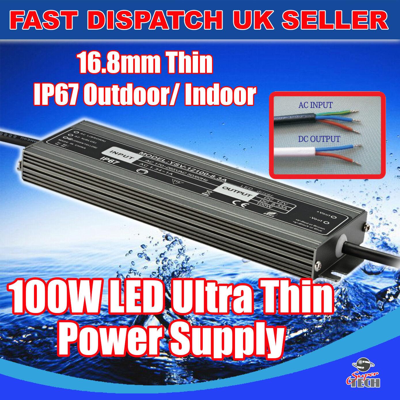 Transformador impermeable 60W-300W DC12v Luz Led Adaptador De Fuente De Alimentación Reino Unido Stock