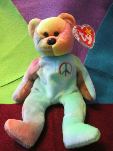 TY Beanie Babie Original Peace DOB February 1, 1996 MWMT in a Bag Origiinal