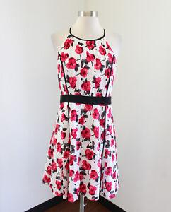 Ann Taylor Loft Womens White Red Pink Floral Print Dress