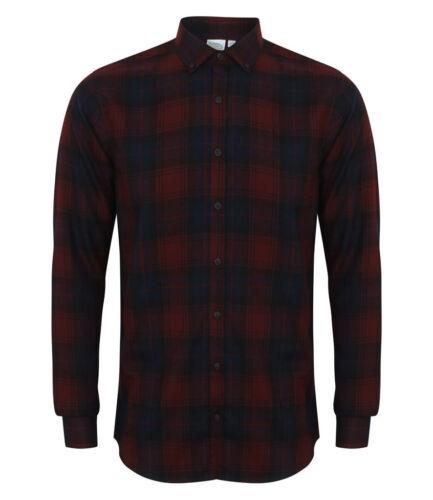 SF-Uomini Spazzolato Check camicia casual-Skinny Fit-Super morbido tessuto