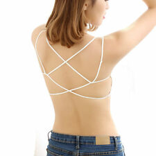 White Free Size Boho People Cage Back Padded Bra Bralette Bustier Crop Top XS-M