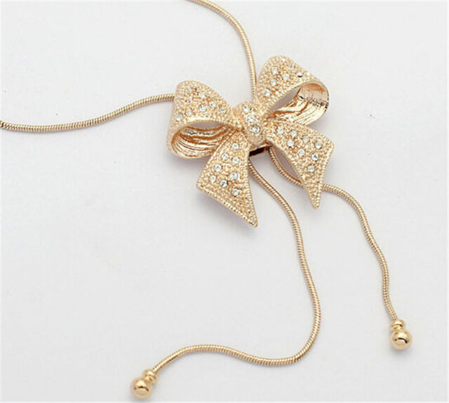 New  Crystal Bowknot Pendant Long Necklace Rhinestone Butterfly Sweater Chain SH