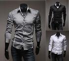 New Korean Fashion Stylish Casual Men's Slim Fit Dress Shirts Tops Long Sleeve