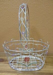 Oval Wire Basket With Handle And Decorated With Multi Color Beads