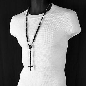 3ea7257da8681 Details about Mens Hip Hop 8mm All BLACK Crystal Cut Rosary Prayer Hand &  Jesus Cross Necklace