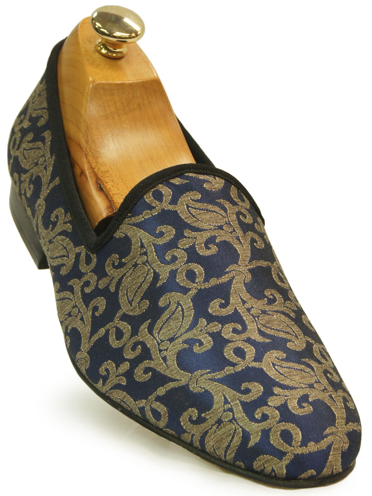 Stacy Adams Venice Navy Blue Gold Elegant Loafer Tapestry Pattern Slip On Loafer Elegant Shoe d77fe1