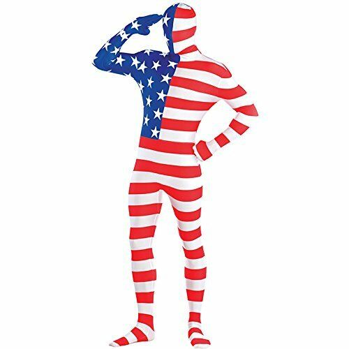 4th JULY AMERICAN FLAG FANCY DRESS DRESSING UP OUTFIT COSTUME MEDIUM UNISEX NEW