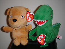 Ty Beanie Baby Set~ MR. DINOSAUR & PEPPA'S TEDDY (UK Peppa Pig Theme Park Excl)