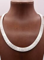 Graduated Greek Key Etched Omega Wide Reversible Necklace Italy Sterling Silver