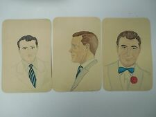 1940s Sketch Art Watercolor Portrait Drawings of Actors Set of 3 Signed & Dated